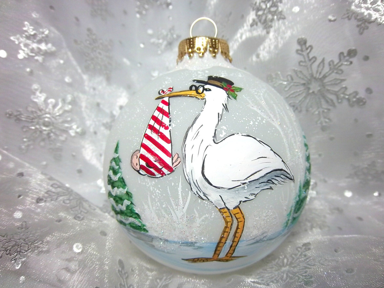 Stork Ornament Special Delivery Baby Shower Stork Holding