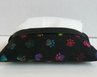 Paw Print Tissue Holder - Colorful Paw Prints - Pocket Tissue Cozy - Purse Tissue Cover - Travel Tissue Case - Cat Dog - Ready To Ship