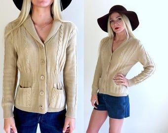 vtg 70s TAN skinny knit GRANDPA CARDIGAN Medium patch pockets sweater jumper boho dolly hippie retro cable