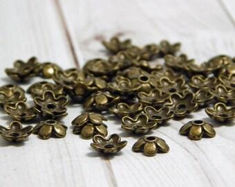 100pc - Bronze Bead Caps - Flower Bead Caps - 6mm Bead Caps - Metal Bead Caps - Metal Beads - Bead Findings (5737)