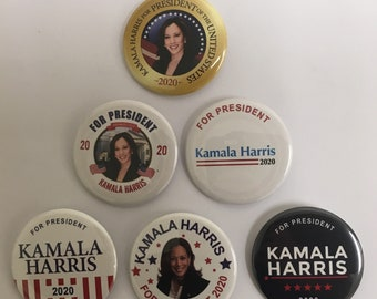 Kamala Harris For President Set of 6 Campaign Buttons (HARRIS-ALL)