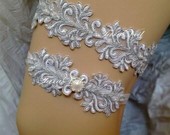 Wedding Garter/Bridal Garter/Silver Garter/ Rhinestone Garter/ wedding garters/bridal garter/ Floral lace garter / Vintage Garter/Garter Set