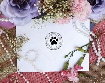 Paw print custom return address rubber stamp --2658