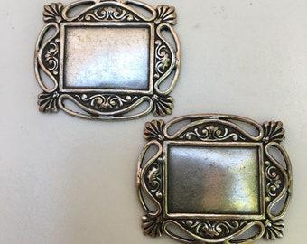 Medallion #412, Rectangle with Art Nouveau edges, set of 2