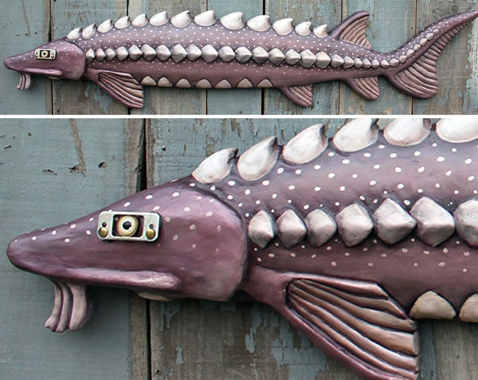 "58"" Sturgeon,Large fish wall sculpture, wall art, Prehistoric Fish, Fun Folk Art, wood/clay fish sculpture, handcrafted in Vermont, unique g"