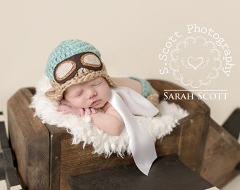 Newborn Aviator Hat and Scarf - Photography Prop