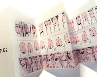 Art zine, Mini zine, weird art zine, mini books, funny zines, pink picture book, artist book, concertina book, unusual gift, portrait sketch