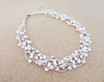 White pink peach freshwater pearl necklace on silk thread, Bridal necklace, Wedding jewelry, multistrand necklace