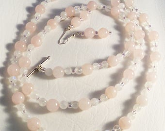 Rose Quartz Moonstone Glass Pink Extra Long Necklace and Earring Set Gemstone 39 Inch Necklace