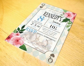 Classic Alice in Wonderland Invitations • Qty 100 - 149 • including Envelopes