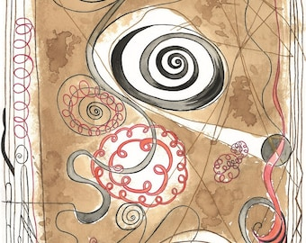 """Digital Serigraph Limited to 10 copies signed by the artist. Title: """"Black Spiral""""-measures 48 x 33 cm"""