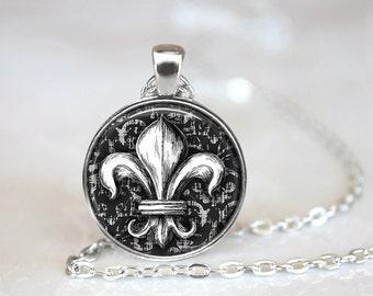 Fleur de Lis Necklace Glass Tile Necklace Fleur de Lis Jewelry Glass Tile Jewelry Black Jewelry Silver Necklace Silver Jewelry