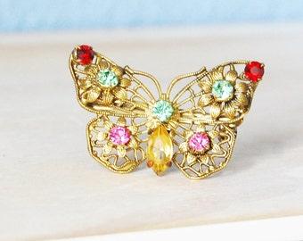 Vintage Butterfly Brooch Filigree Rhinestone 1930s