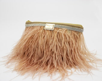 Hand made clutch, purse, Dusty Pink