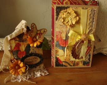 """Funny card and gift tag for friend Chicken Embellished paper art card get well """"Feeling a bit clucked-up?"""" Rooster country style chicken tag"""