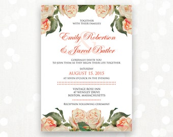 Printable Wedding Invite Pink Rose &  White Weddings Invitation - INSTANT DOWNLOAD - Editable DIY Retro Floral Shabby Chic Invitations