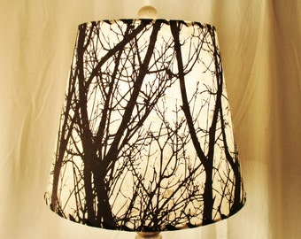 Tree Silhouette Drum Lamp Shade, Black and White Tree Silkscreened Lokta Paper, Nature Inspired Lampshade, Washer Top Shade, Rustic Decor
