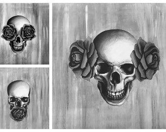 Hear no Evil, See no Evil, Speak no Evil, Triple Canvas Print, Skull Painting, Goth Art, Black and White