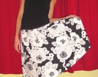 Black and White with Flowers all Over, Drawstring Skirt