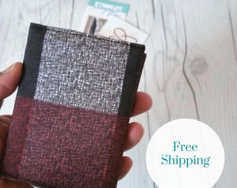 Maroon Wallet, Plaid Wallet, Credit Card Wallet, Small Wallet, Fabric Wallet, Travel Wallet, Business Card Holder, Credit Card Case
