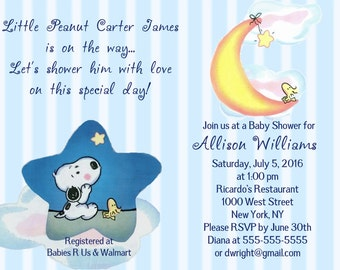 Snoopy baby shower invitations etsy baby snoopy woodstock moon stars cloud blue green or pink baby filmwisefo Choice Image
