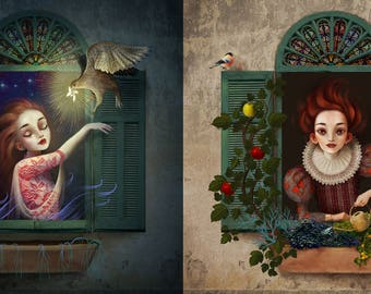 Night and Day - Two 8X8 prints | Diptych, two-part-painting, contemporary diptych, modern surrealism popsurrealism, symbolist inspiring art