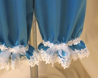 Turquoise Bloomers, Pantaloons, Knickers, Victorian Underwear in Satin-back Crepe w/ White Flower Lace Trim & Sheer Ribbon Ties, Size S/M