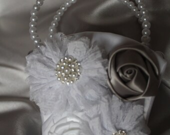 WHITE or IVORY Satin Flower Girl Basket with Lace Flowers-Silver/Gray Satin Flower- Rhinestones- Pearls-Custom Accent Colors Available