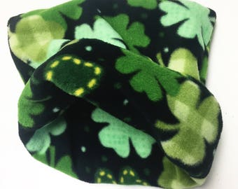 Fleece Shamrocks Reversible Snuggle Sack for Hedgehogs, Ferrets, Rabbits, Guinea pigs, Hamster and Small Reptiles.