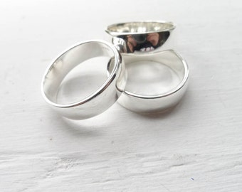 Thick Sterling Silver Rings for Metal Stamping 6mm Finger Ring Size 7 (RHSR627)