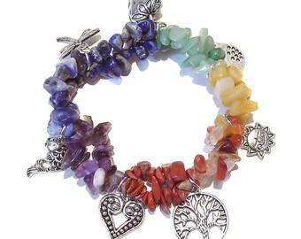 Chakra / Rainbow Gemstone Chip Stretch Charm Bracelet Ap. 19cm
