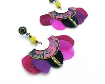 Feathers earrings bohemian romantic, black, pink, golden