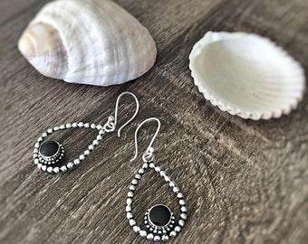 Teardrop Earrings,  Onyx Earrings, Simple Earrings, Boho Earrings, Minimalist Earrings, Gift for her, Silver Earrings, Silver Jewelry