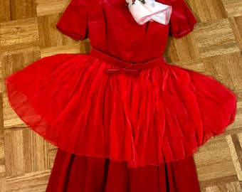Vintage Red Velvet Dress 1950 With Chiffon Wrap