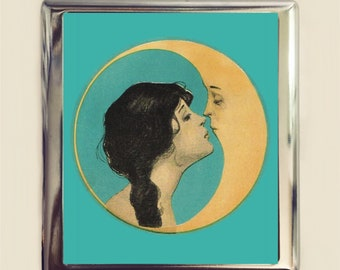 Moon Kiss Cigarette Case Business Card ID Holder Wallet Kissing Romance Romantic Crescent Moon Fantasy Whimsical Celestial
