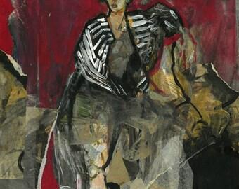 """Originalzeichnung, """"Hommage à Matisse VI"""", Mischtechnik auf Papier-Collage, 44x36 cm"""