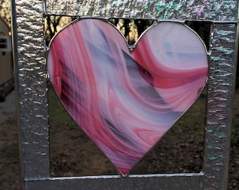 Contemporary Stained Glass Panel Stained Glass Suncatcher Pink Heart (PLG121)