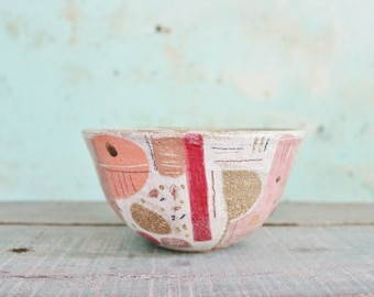 READY TO SHIP Ceramic Pottery Bowl Dish Stoneware Pink Orange Brown Abstract Shapes Rustic Texture Australia