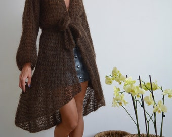 Brown cardigan, mohair cardigan, light cardigan, kimono cardigan, long cardigan, chunky knit cardigan, open cardigan, oversize knit cardigan