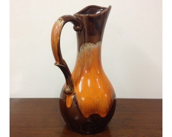 Vintage Retro Ceramic Jug Japan Orange & Brown Lava Glaze Ceramic Pitcher Vase Made in Japan 1970s