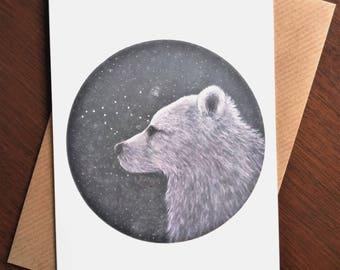 Stargazing Spirit Bear Blank Art Greeting Card - Kermode Bear/White Bear/Stars/Bear Constellation/Illustration/Bear Art/Ethereal/Handmade