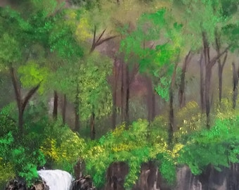 Summer Waterfall an Original Oil on canvas 24x18x1 in Full Color