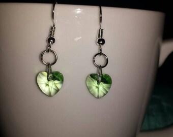 Crystal heart earrings 'Peridot'