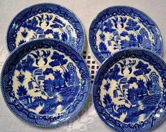 Vintage Blue Willow Saucer Set of 4 Replacement Japan Wall Decor Asian Theme PanchosPorch