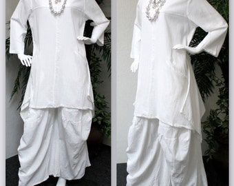 Comfyplus , Gauze Tunic, Cool Cotton Pant set, Gauze Pant Set, White Pant Set, 2 PC Pant Set,. Designer Pant Set. Large to 4XL