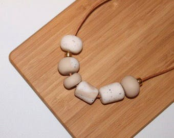 "Polymer clay bead necklace. Polymer clay necklace. Neutral, sandstone, texture, white, gold ""The Clare"""