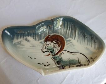 Gorgeous Rare Sascha Brastoff Signed Free Form Art Pottery Ram Tray Dish Mid Century Modern
