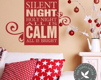 Silent Night Holy Night All is Calm All is Bright | Christmas Seasonal Subway Vinyl Wall Home Decor Decal Sticker