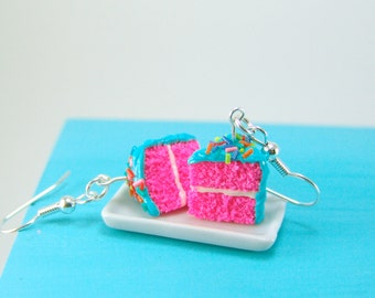Cake Earrings // Blue and Pink Party Girl Cake Earrings // Food Jewelry // MADE TO ORDER