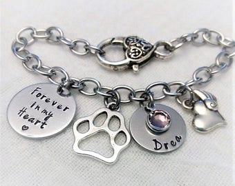 Personalized Pet Memorial Bracelet, Pet Memorial Jewelry, Memorial Dog Bracelet, In Memory of Gift, Remembrance Jewelry, Pet Remembrance